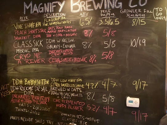 The day's beers at Magnify Brewing.