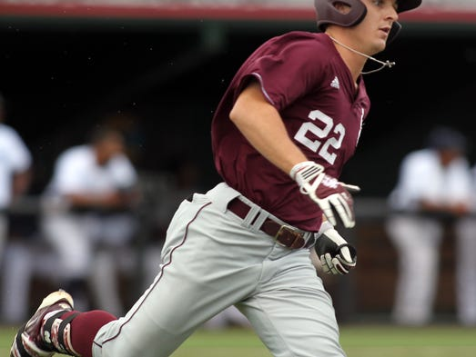 "Mississippi State's Jake Vickerson runs to first after hitting a single against Jackson State in an NCAA Baseball Division I Regional Tournament game Saturday, May 31, 2014, at M.L. ""Tigue"" Moore Field in Lafayette, La."