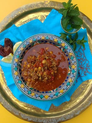 Harira is served with Mejool dates and Moroccan mint tea.