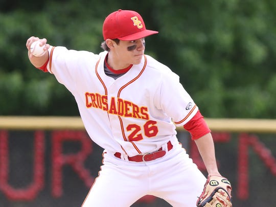 Dominic Cancellieri of Bergen Catholic makes this play at shortstop.