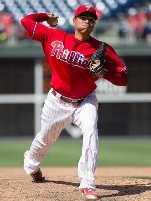 Philadelphia Phillies relief pitcher Jeanmar Gomez throws a pitch during the ninth inning Wednesday against the Atlanta Braves. The Phillies won 4-3. Gomez, who earned his 23rd save, has been one of the bright spots in the first half of the season.