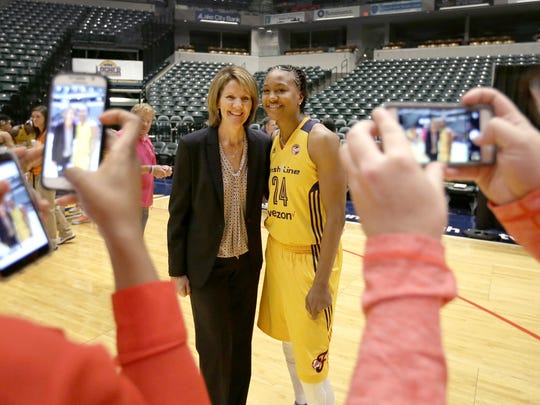 Indiana Fever President and COO  Kelly Krauskopf,left, poses for a photo with Tamika Catchings (24) during the Indiana Fever Media day Monday, May 9, 2016, morning at Bankers Life Fieldhouse.