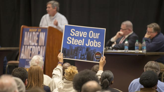 About 150 people attended a rally at the downtown Sheraton Hotel in support of employees of industrial manufacturer Rexnord, which is slated to lose 300 jobs to Mexico, Thursday, Feb. 2, 2017.