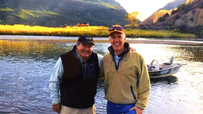 The late Justice Antonin Scalia and Judge Neil Gorsuch on the Colorado River.