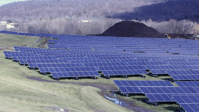Solar panels cover a field at the old Clarkstown landfill in West Nyack on Dec. 18. They generate electricity for Clarkstown government operations.