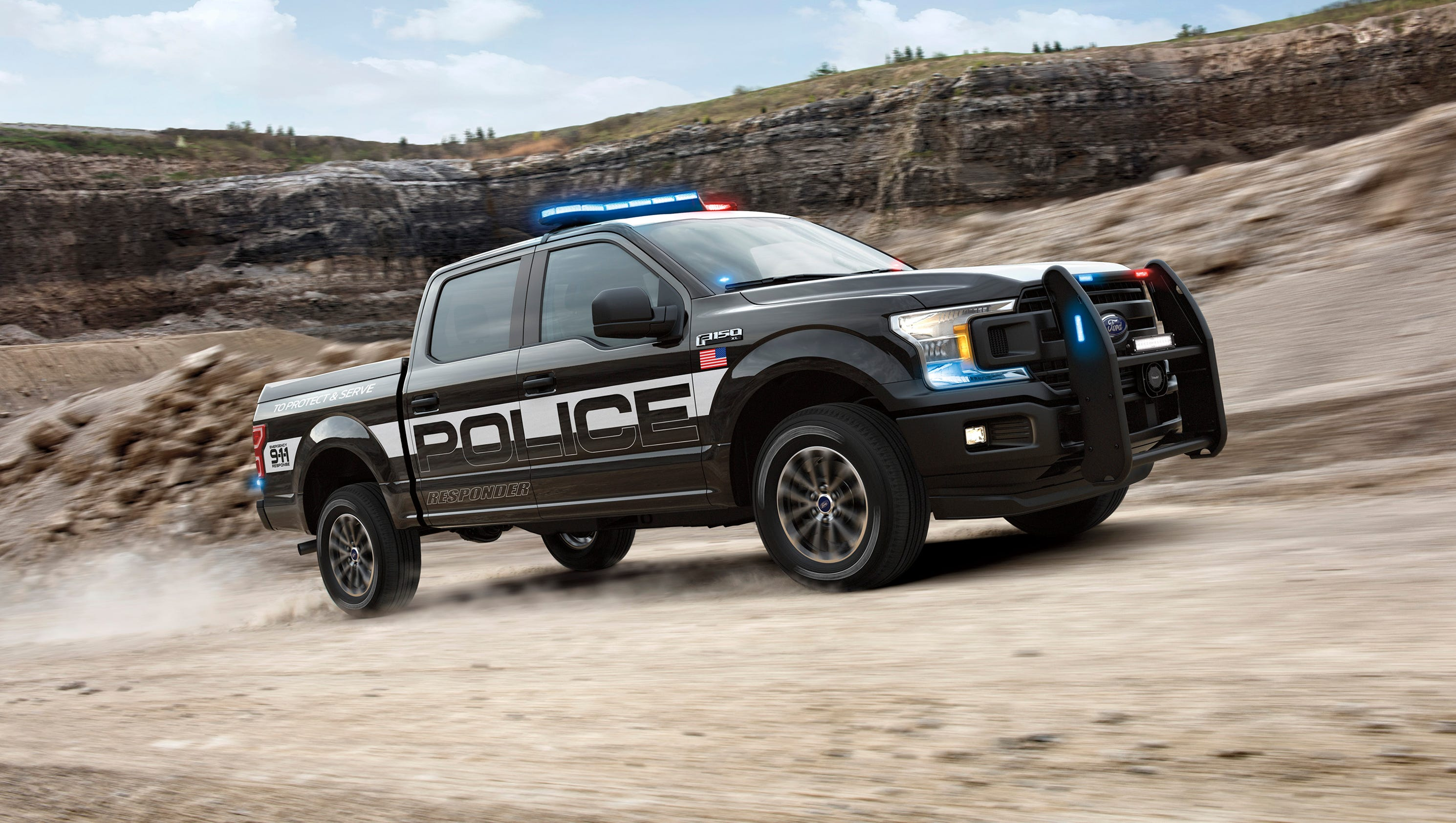 Police version of f 150 pickup overpowers dodge and chevy police cars sciox Images