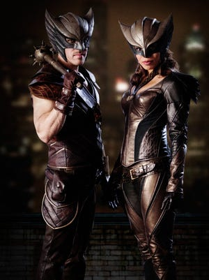 """Before they take flight on """"DC's Legends of Tomorow,"""" Hawkman (Falk Hentschel) and Hawkgirl (Ciara Renee) are targeted by a villain in this week's crossover between """"Arrow"""" and """"The Flash."""""""
