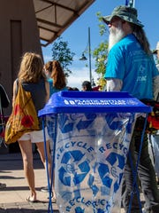 Recycling bags were set up all over the Plaza de Las