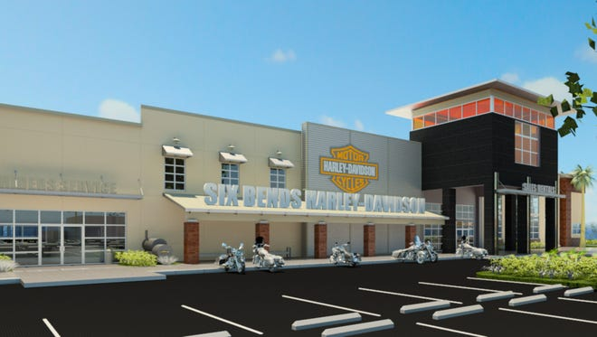 Artists rendering of the Six Bends Harley-Davidson store.