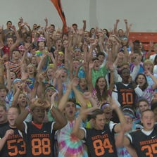 Students at Southeast Guilford prepare for a big game against rival Northeast.