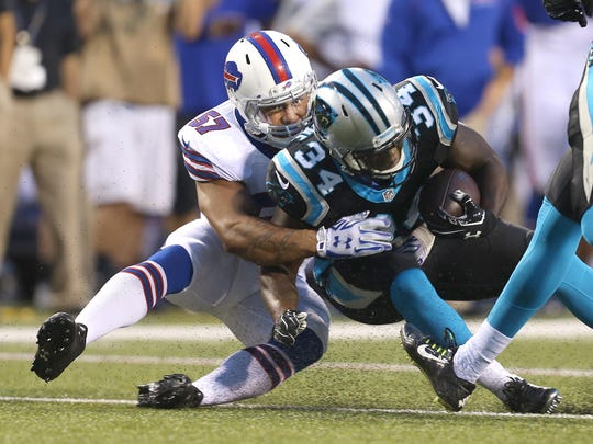 Bills linebacker Ty Powell (57) suffered a season-ending knee injury in a joint practice with the Cleveland Browns.