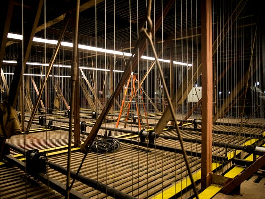 72 feet above the stage is a grid of steel channels