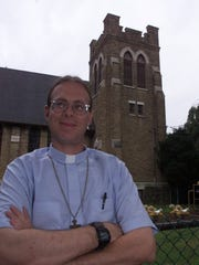The Rev. Peter Strand, as he was then known, outside the First Presbyterian Church in Ridgefield Park in 2000.