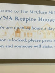 A sign at the new McClure Miller VNA Respite House