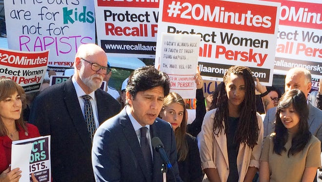 Kevin de Leon, of the California state Senate, calls for the removal of Santa Clara County Judge Aaron Persky from the bench, during a Sept. 2, protest.