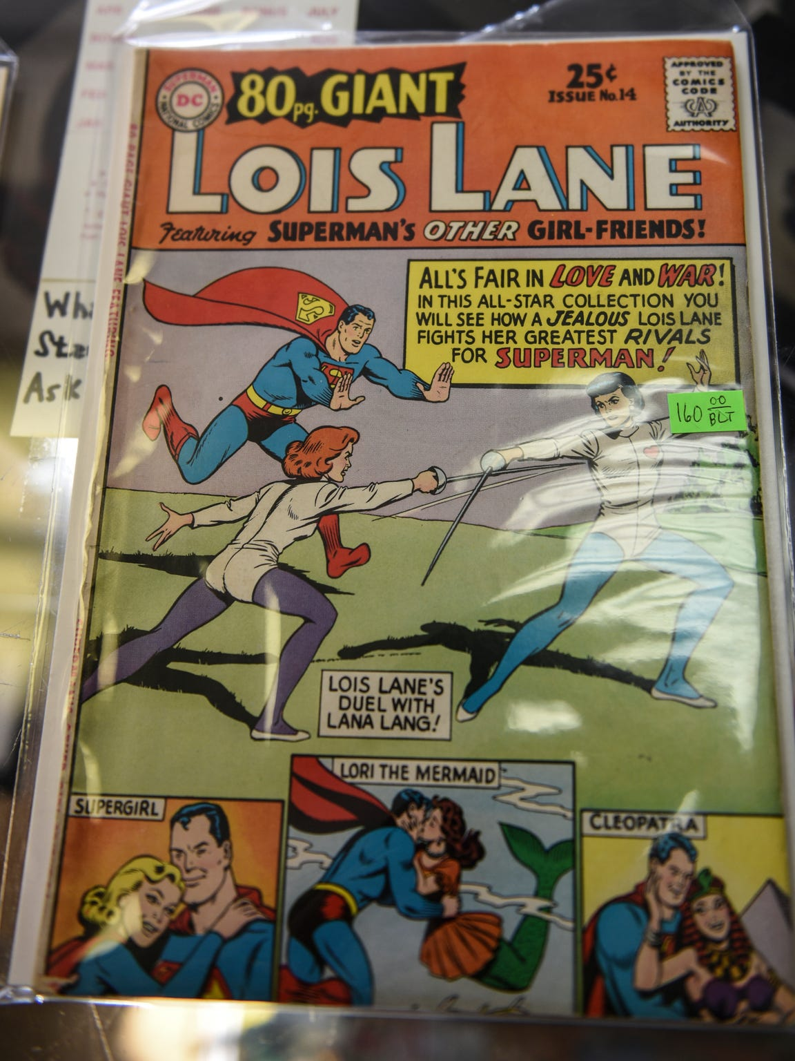 A giant comic book of Lois Lane at Comics and Paperbacks Plus in Palmyra.
