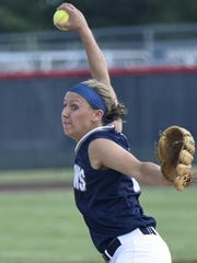 Chambersburg's Laken Myers pitches against Upper Darby