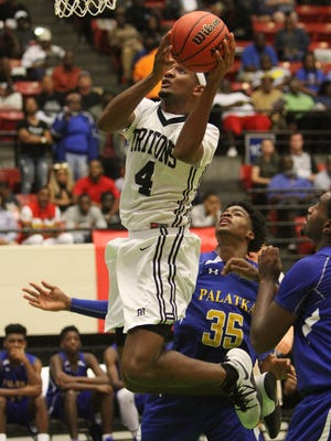 Mariner forward Jahmel goes up over Palatka defense during the FHSAA 6A state semifinal Thursday March 2, 2017 in Lakeland, Florida. Photos by Cindy Skop 2017