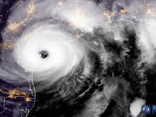 GOES-16 captured this geocolor image of Hurricane Harvey