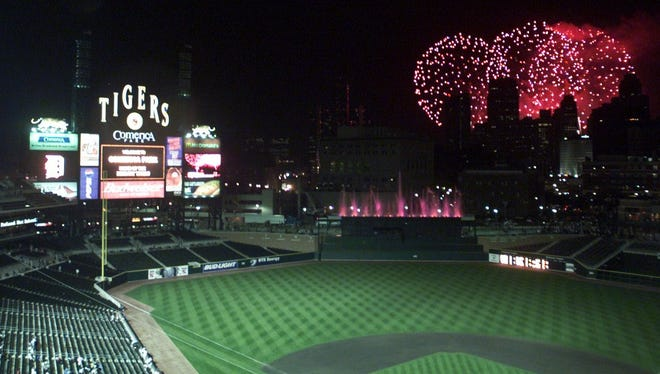 Fireworks after a game at Comerica Park.