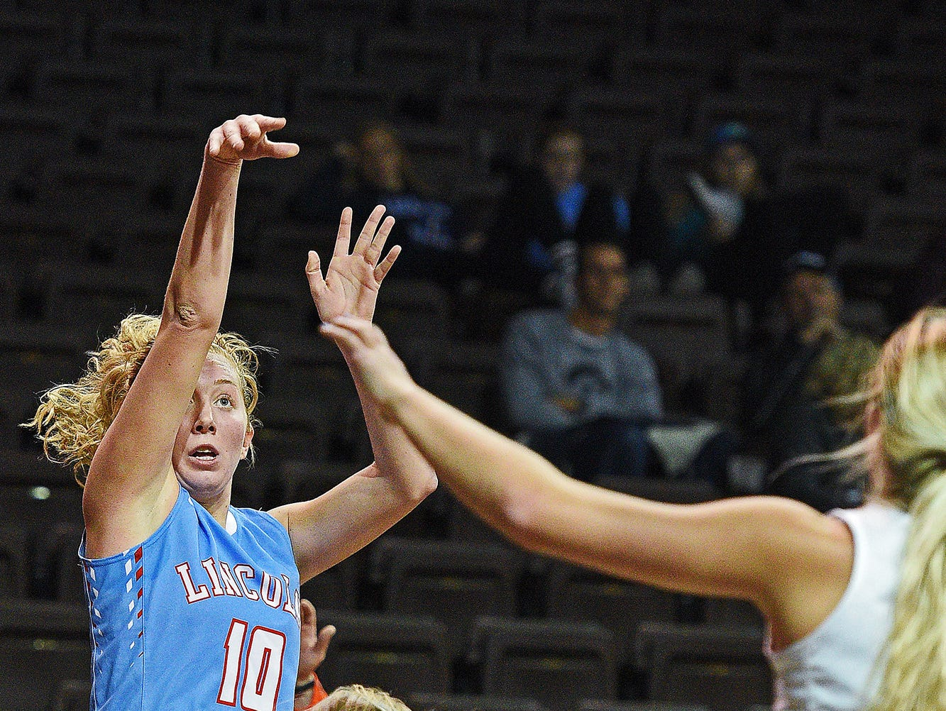 Lincoln's Anna Brecht (10) takes a shot during a game against Moorhead during the Edith Sanford Breast Center Girls Pentagon Classic Saturday, Dec. 17, 2016, at the Sanford Pentagon in Sioux Falls.