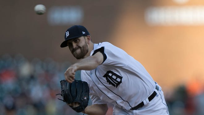 Tigers pitcher Matthew Boyd throws during the first inning Sunday at Comerica Park.