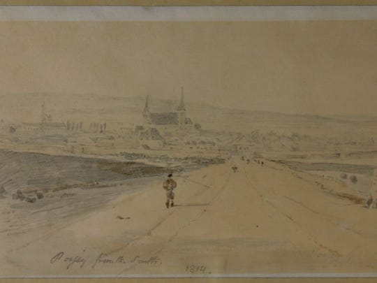 "Joseph Mallord William Turner, ""Poissy from the South,"" 1814, watercolor and graphite on paper. Gift of Richard & Harriet Mears. Collection of the Springfield Art Museum."
