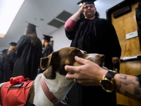 At right, Kaitlyn Maloney pets Zelda, a service dog owned by Courtney Nixon, pictured above, Thursday, June 15, 2017 at the San Juan College HSE commencement ceremony in Farmington.