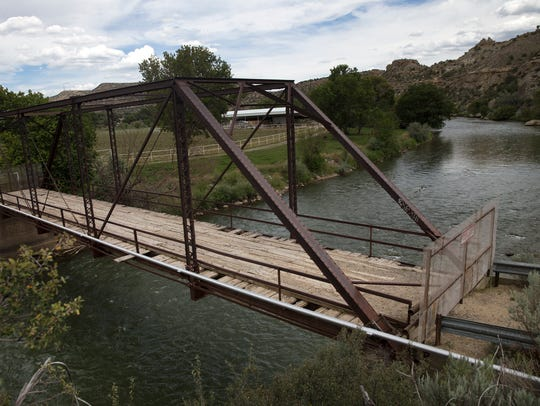 A bridge off County Road 2380 is pictured on Monday,