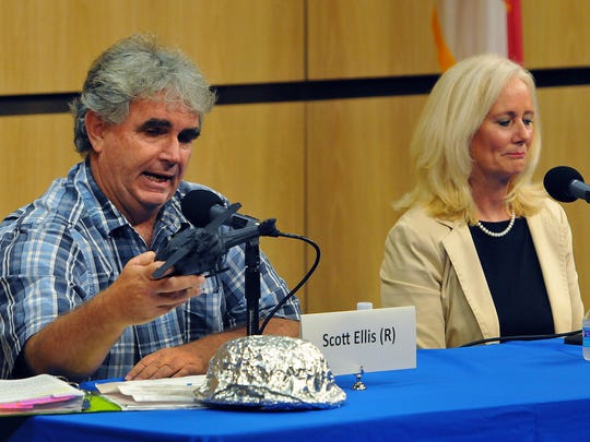Scott Ellis speaks during a clerk of courts debate on Tuesday, Aug. 9. He has had an ongoing battle with the Economic Development Commission of Florida's Space Coast and its initial support of BlueWare, a scanning document company now under scrutiny.