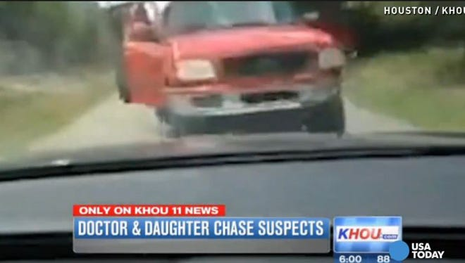 A doctor and his daughter chased suspected burglars they saw leaving their south Houston home. The victims recorded the chase as the suspected burglars in the red pickup crashed into them.