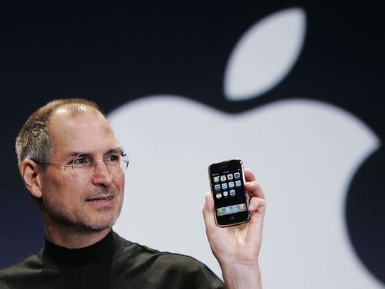 In this Jan. 9, 2007, file photo, Apple CEO Steve Jobs
