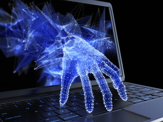 Stealing personal data through a laptop concept