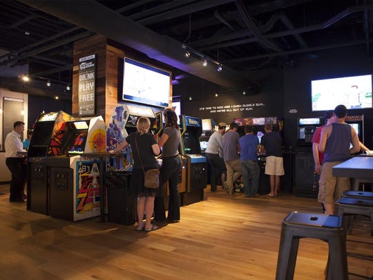The interior of Cincinnati's 16-Bit Bar + Arcade.