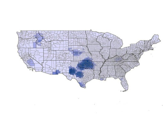 Hot spots (in blue) of health-based water violations,