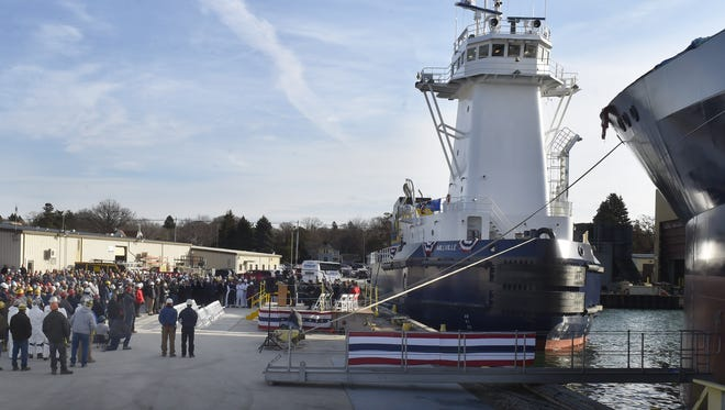 A crowd of more than 300 workers, guests and dignitaries attended the christening of the articulated tug barge (ATB) combination Millville and 1964 on Tuesday, Nov. 28, 2017, at Fincantieri Bay Shipbuilding in Sturgeon Bay. Built for Wava Inc., the ATB will be transport fuel from Beaumont, Texas, to Tampa, Fla. To see more photos, go to: www.doorcountyadvocate.com.
