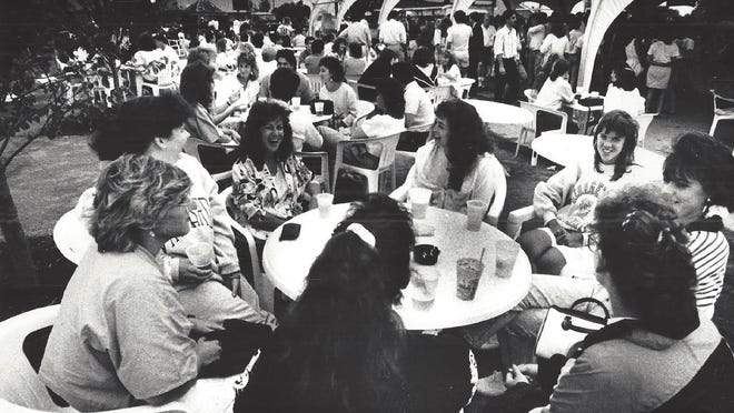 The crowd at The Tent enjoys a night out at Marina Bay in this 1989 file photo.