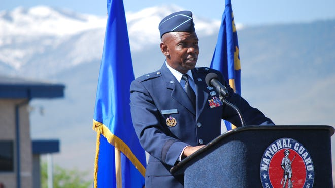 Brigadier Gen. Ondra Berry addresses the airman of the Nevada Air National Guard after taking command of the group at a ceremony on Saturday in Reno.