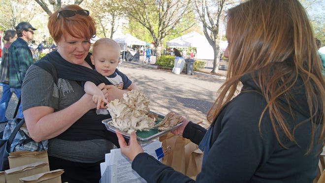 Jessica Short and her 2-year-old son, Josh, shop for mushrooms at the Salem Saturday Market.