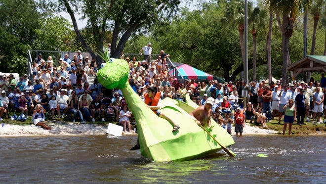 Crowds often come for the fun of watching boats sink at the Cape Coral Cardboard Boat Regatta.