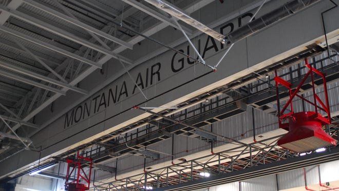 The painted lettering on what was the exterior of the old hangar is still visible inside the 40 foot addition.