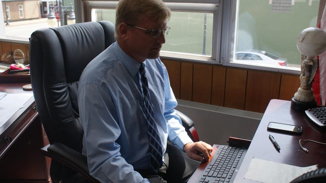 Tazewell County Clerk John C. Ackerman participates in Tuesday's Facebook-hosted webinar on election integrity and best practices. {MIKE KRAMER/PEKIN DAILY TIMES]