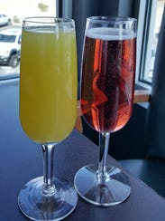 The Hawaiian Mimosa ($4.50) and the Cranberry Mimosa ($4) at The Game II - Extra Innings.