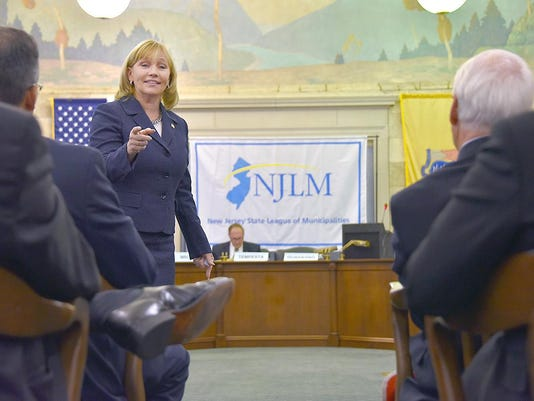 Acting Governor Kim Guadagno attends the New Jersey State League of Municipalities 24th Annual Mayors' Legislative Day at the State House Annex in Trenton.