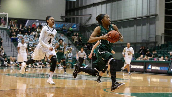 Binghamton University sophomore guard Imani Watkins drives to the basket during the first half of an America East Conference quarterfinal game in the Events Center in Vestal, N.Y. Watkins averaged 16 points per game and earned All-Conference honors as a sophomore.