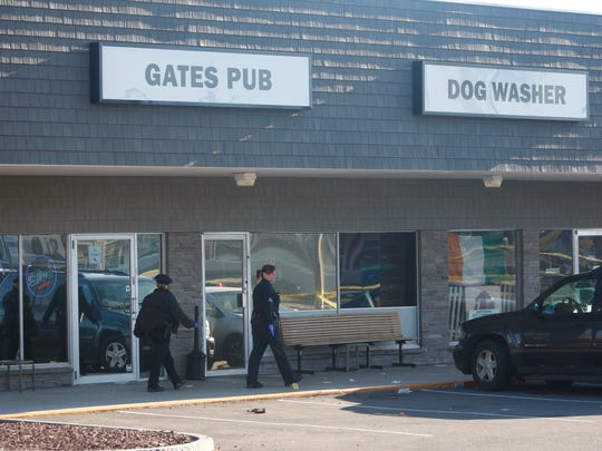 One person was killed and six injured on April 25, 2015, in a shooting at Gates Pub.