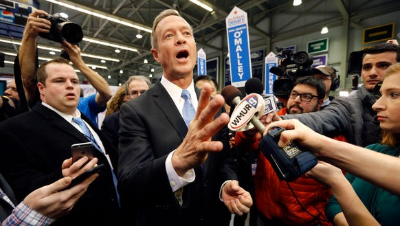 Martin O'Malley speaks in the spin room after the Democratic
