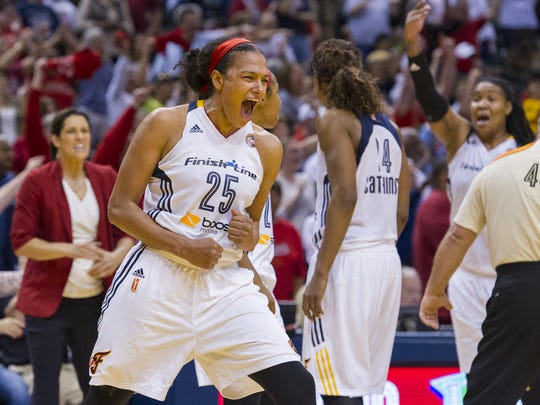 Indiana Fever guard Marissa Coleman (25) reacts as the team leads the New York Liberty during the second half of a WNBA Eastern Conference Finals game, Sunday, September 27, 2015, at Bankers Life Fieldhouse in Indianapolis. The Fever won, 70-64.
