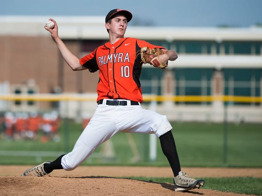 Palmyra's Isaac Blatt tossed a 70-pitch complete game that helped the Cougars to a 7-3 victory over West York in a district playoff opener on Tuesday.