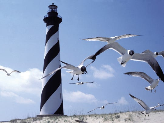 Cape Hatteras Lighthouse when it was still at the water's